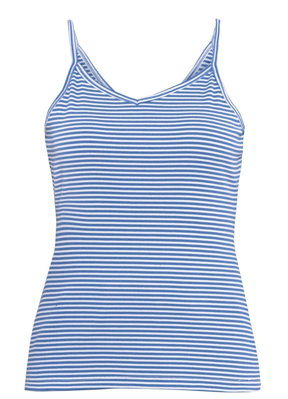 dde742af37411a Blusa em Ribana de Alças (Listrada Azul) Quintess