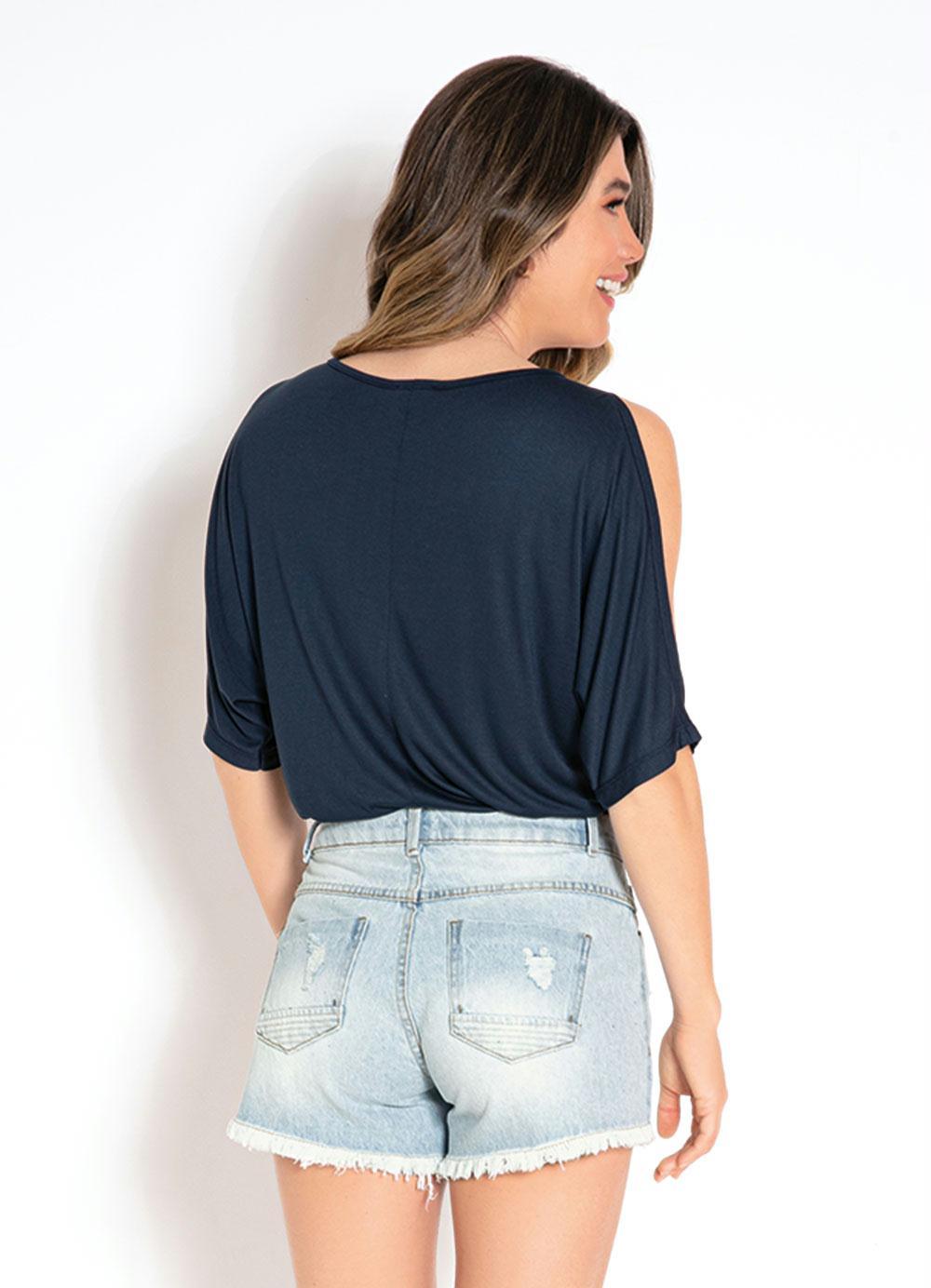24e728a18c Blusa com Ombros Vazados Azul - bonprix