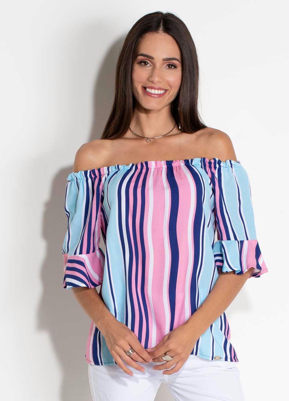 e7cefc0e0 Blusa Ciganinha Quintess Listras Coloridas - Quintess