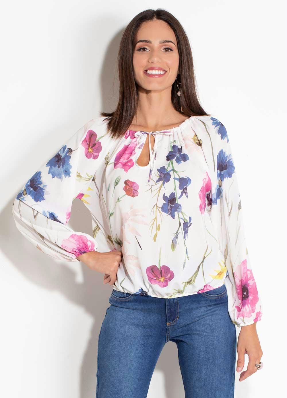 94765ef42 Blusa Floral Quintess com Elástico nas Mangas - Quintess