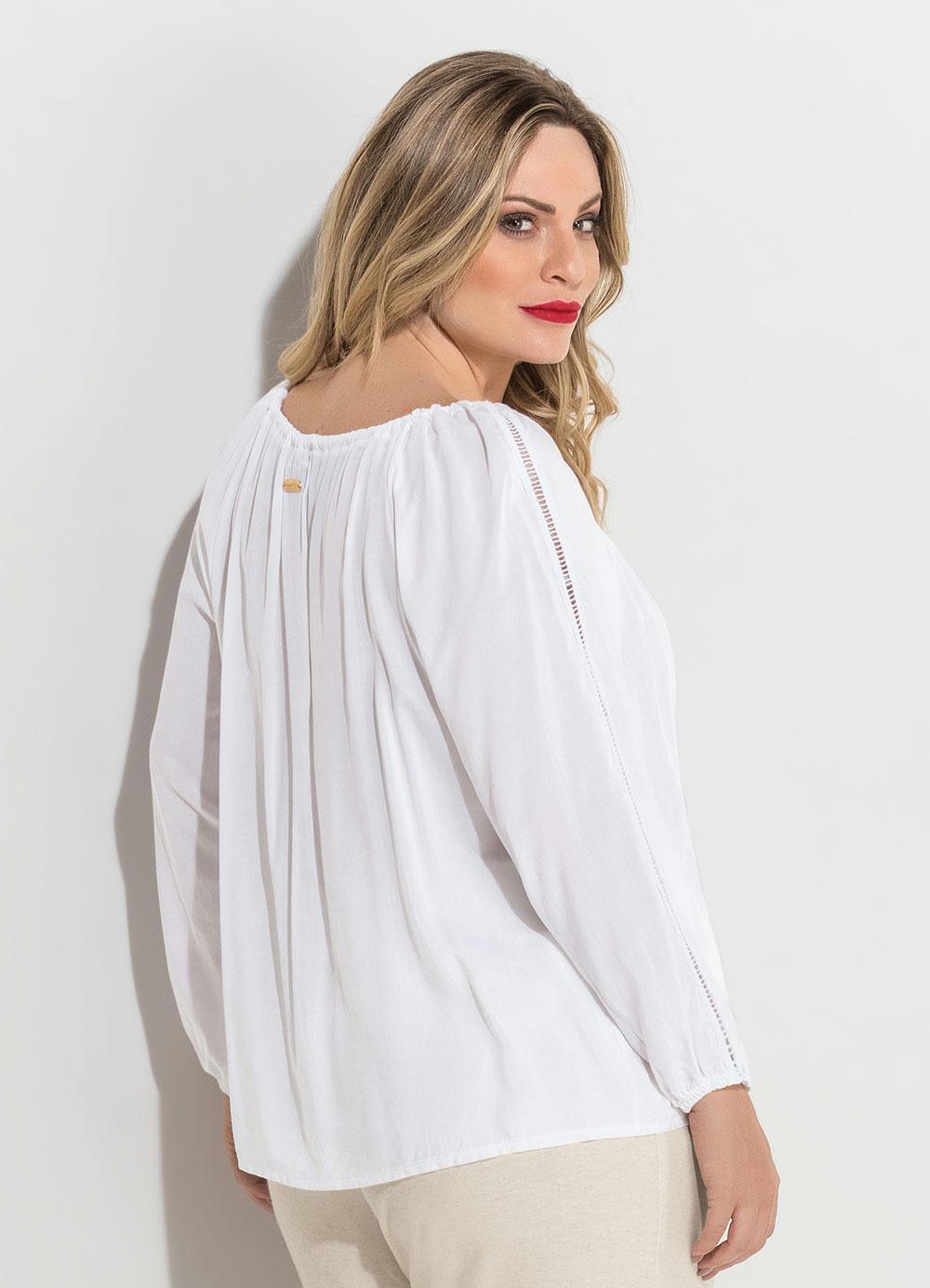 087fd25f9d Blusa Ombro a Ombro Branca Plus Size Quintess - Quintess