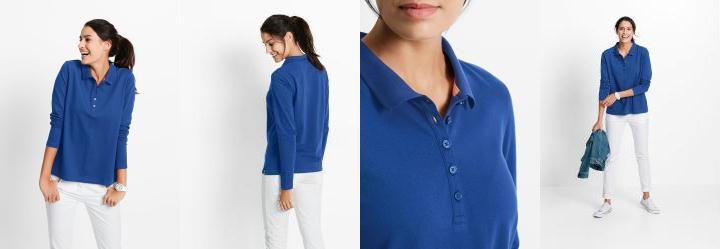 6e3fa5032db52 0.0 Blusa Pólo em Malha Piquê Azul
