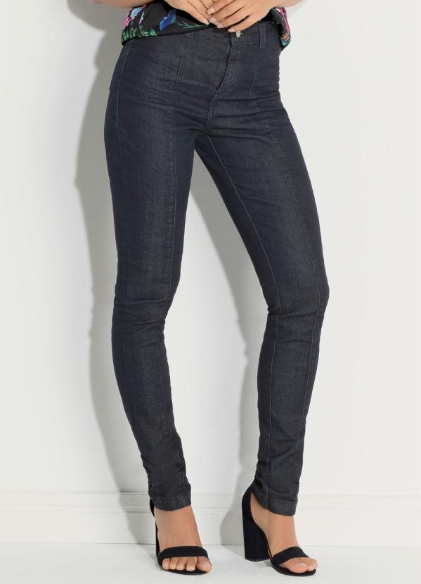 a083313e0 Calça Skinny Cintura Alta Jeans Escuro - Quintess