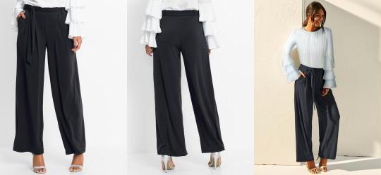 0.0 Calça Pantalona com Faixa para Amarração Preta beb2da223ef