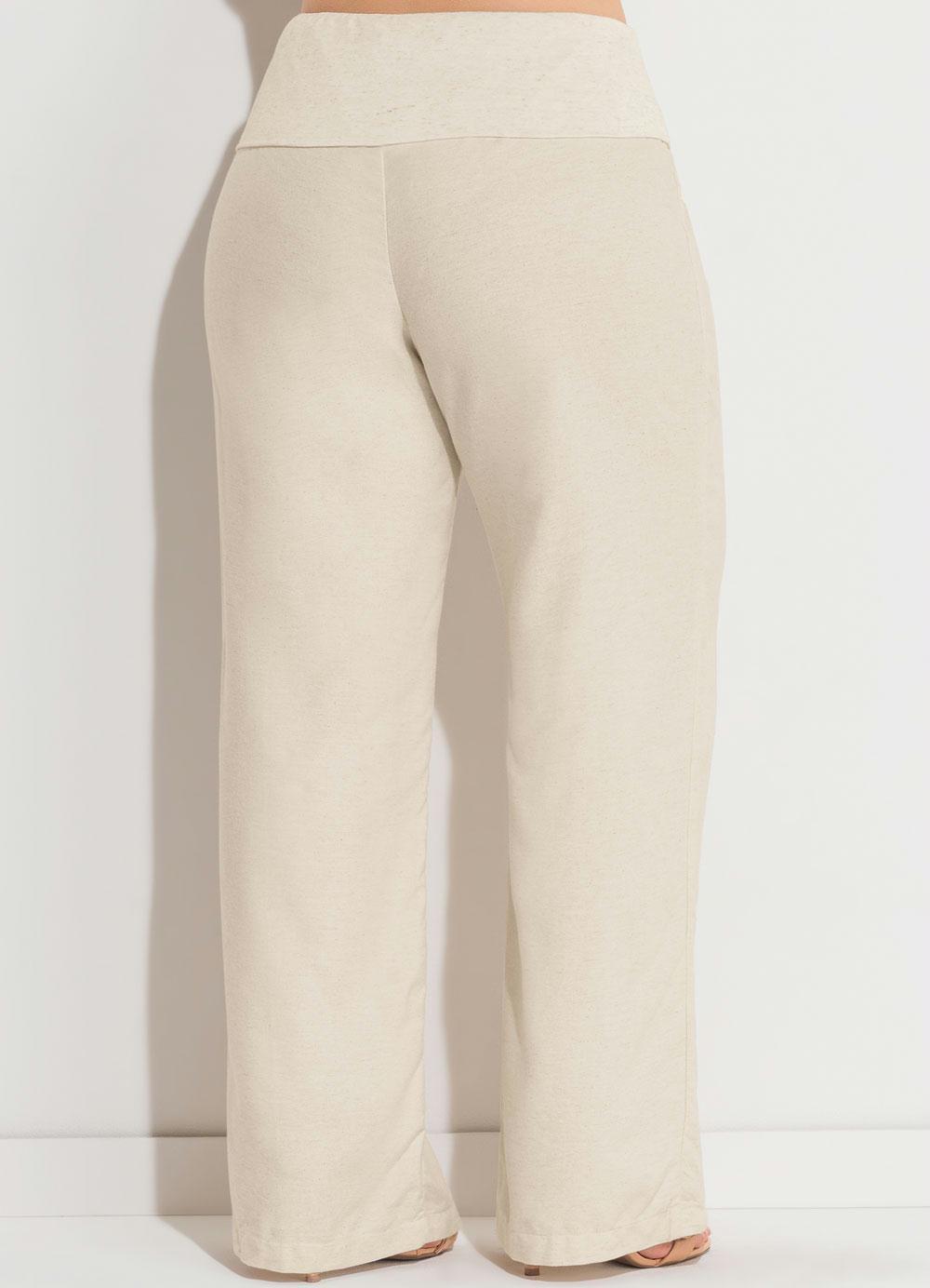 25fded4cf Calça de Linho Bege Plus Size Quintess - Quintess