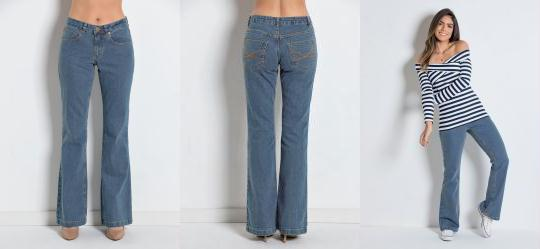 a75cc0e7a 0.0 Calça Jeans Boot Cut-Perna Larguinha Azul Médio