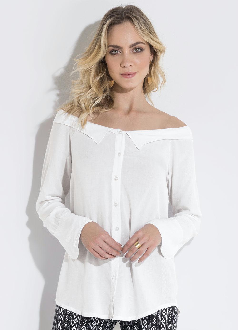 ea3fe725a Camisa Ombro a Ombro Off White Quintess - Quintess