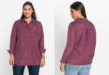 072f2588bf 0.0 Camisa Social Alongada Xadrez Amora