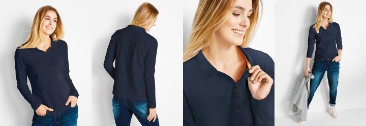 a34daaa572 0.0 Camisa Pólo em Malha Piquê Azul Escuro