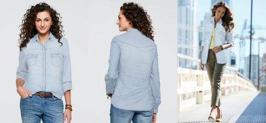 473135285da17 0.0 Camisa Jeans Manga Longa Azul