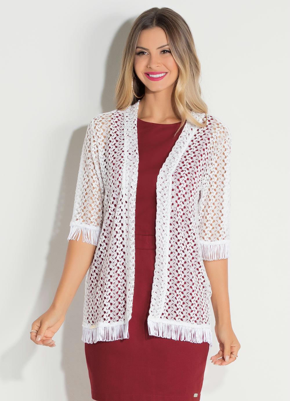 3847b9bc3 Kimono em Renda Branco Quintess com Franjas - Quintess