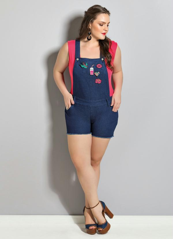 022bf9791 Jardineira Jeans Plus Size - Quintess