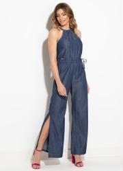 3c4ec95089 Macacão Quintess Jeans com Fenda Quintess