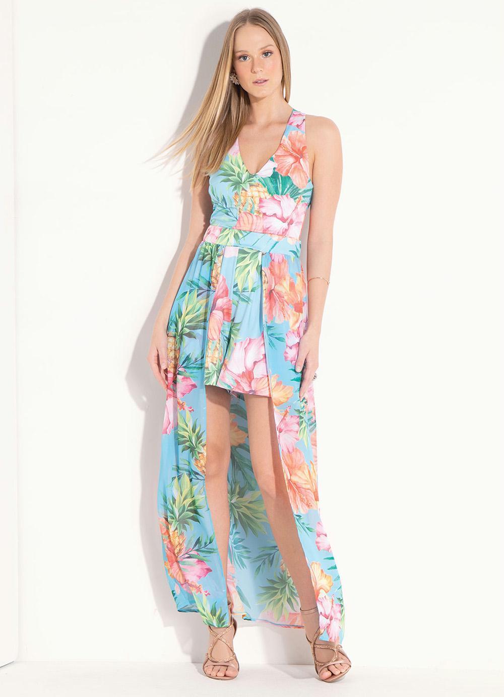 3727fffd1 Macaquinho Floral Tropical com Saia Removível - Quintess