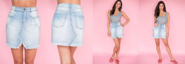 Saia Curta Jeans Azul Claro