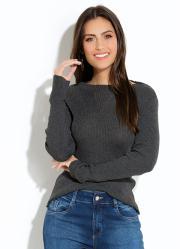 Suéter Quintess em Tricot Canelado Mescla 4c1024cc9b3