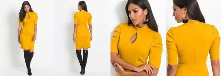 0198a80687 0.0 Vestido Tubinho Amarelo