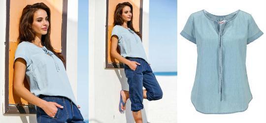 2f335e4a06 0.0 Blusa Jeans Manga Curta Azul