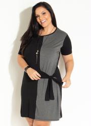 5b99105bbc Vestido Clássico Preto e Cinza com Amarração