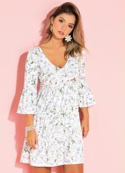 a47b0b8c65 Vestido Floral Branco com Franzidos