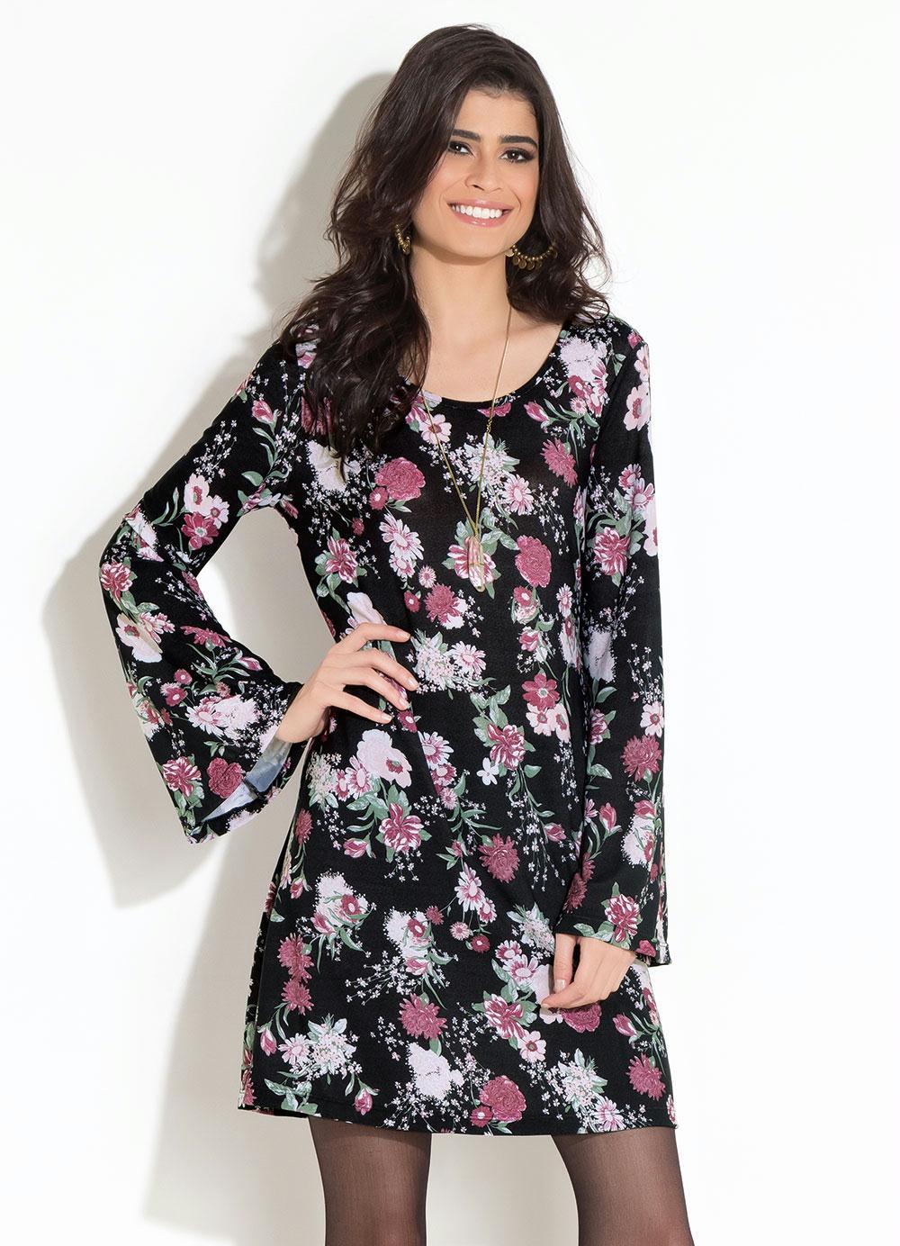74a474254 Vestido Quintess Floral Preto Mangas Sino - Quintess