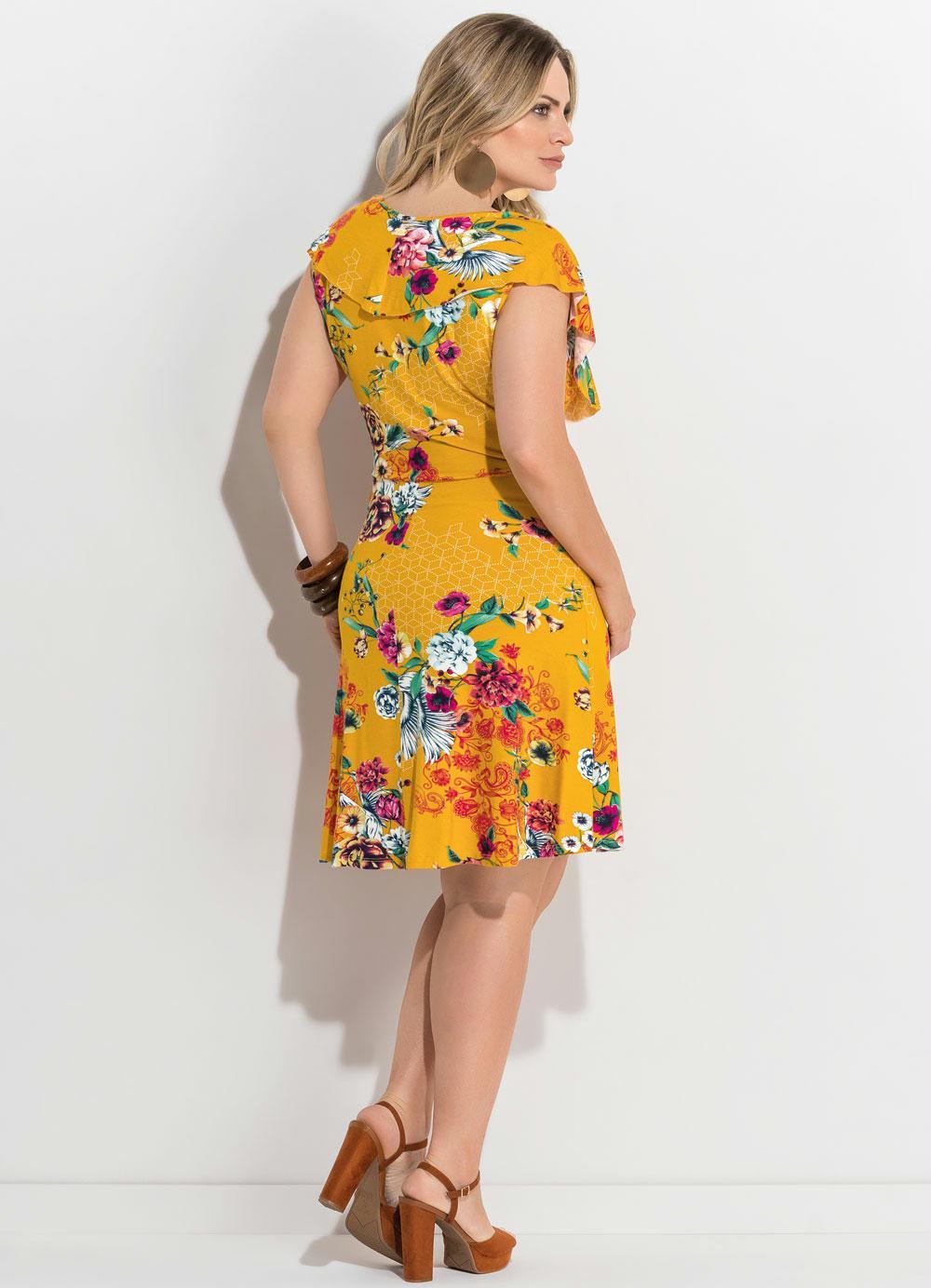 79ce3fa35 Vestido Transpassado Estampado Amarelo Plus Size - Quintess
