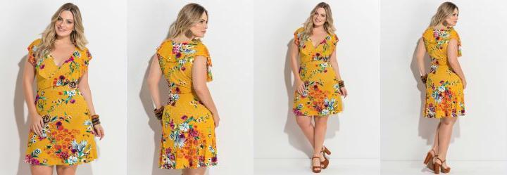 c8a0efe19 0.0 Vestido Transpassado Estampado Amarelo Plus Size