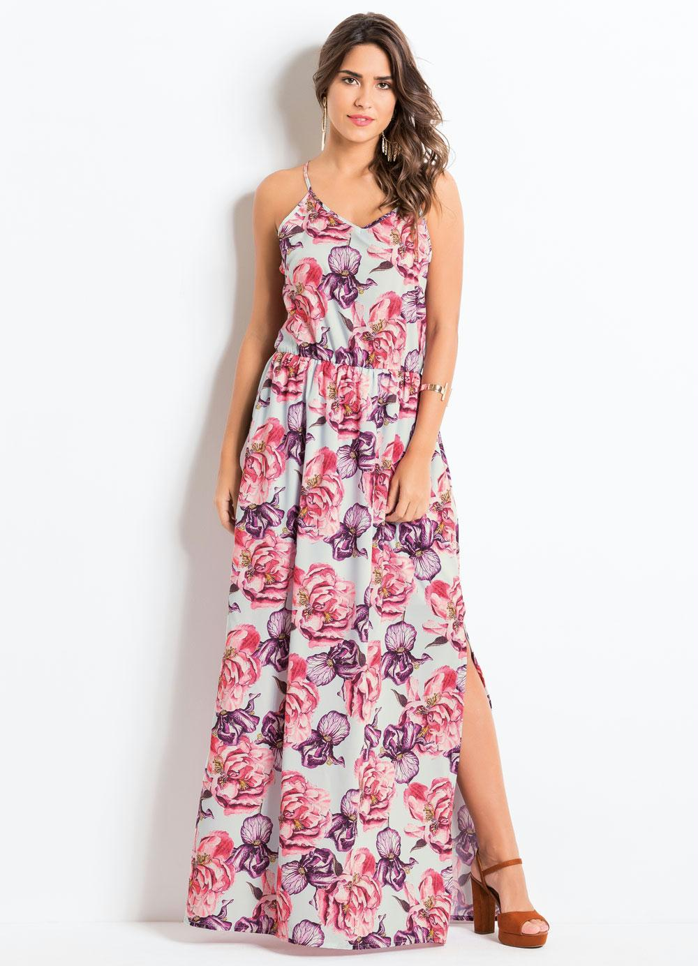 bb83cfe1d Vestido Longo Quintess Floral com Fendas - Quintess