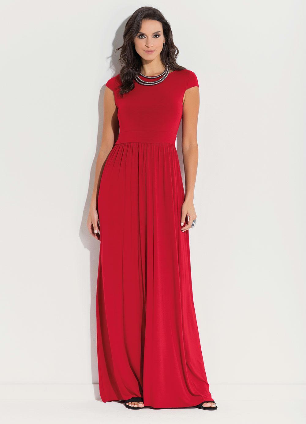 4f5fa66b2 Vestido Longo Vermelho com Manga Curta - Quintess