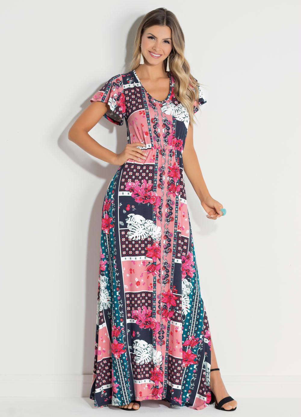 f60f14c717 Vestido Quintess Azulejo Rosa com Manga Ampla. Código  3063700