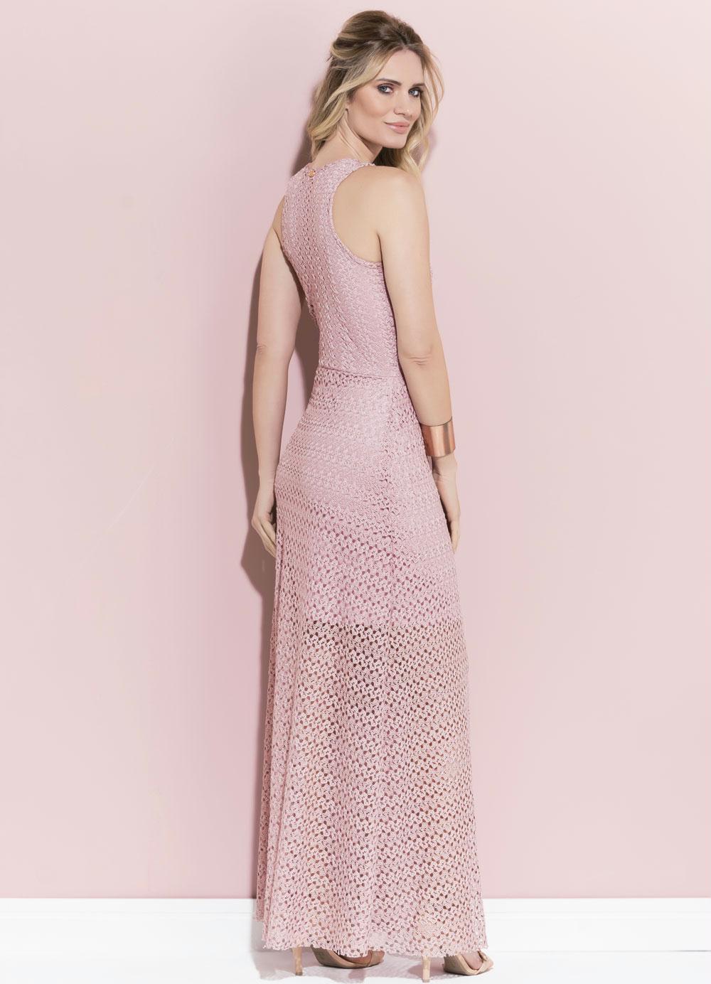 448045fae Vestido Quintess Rose em Renda sem Mangas - Quintess