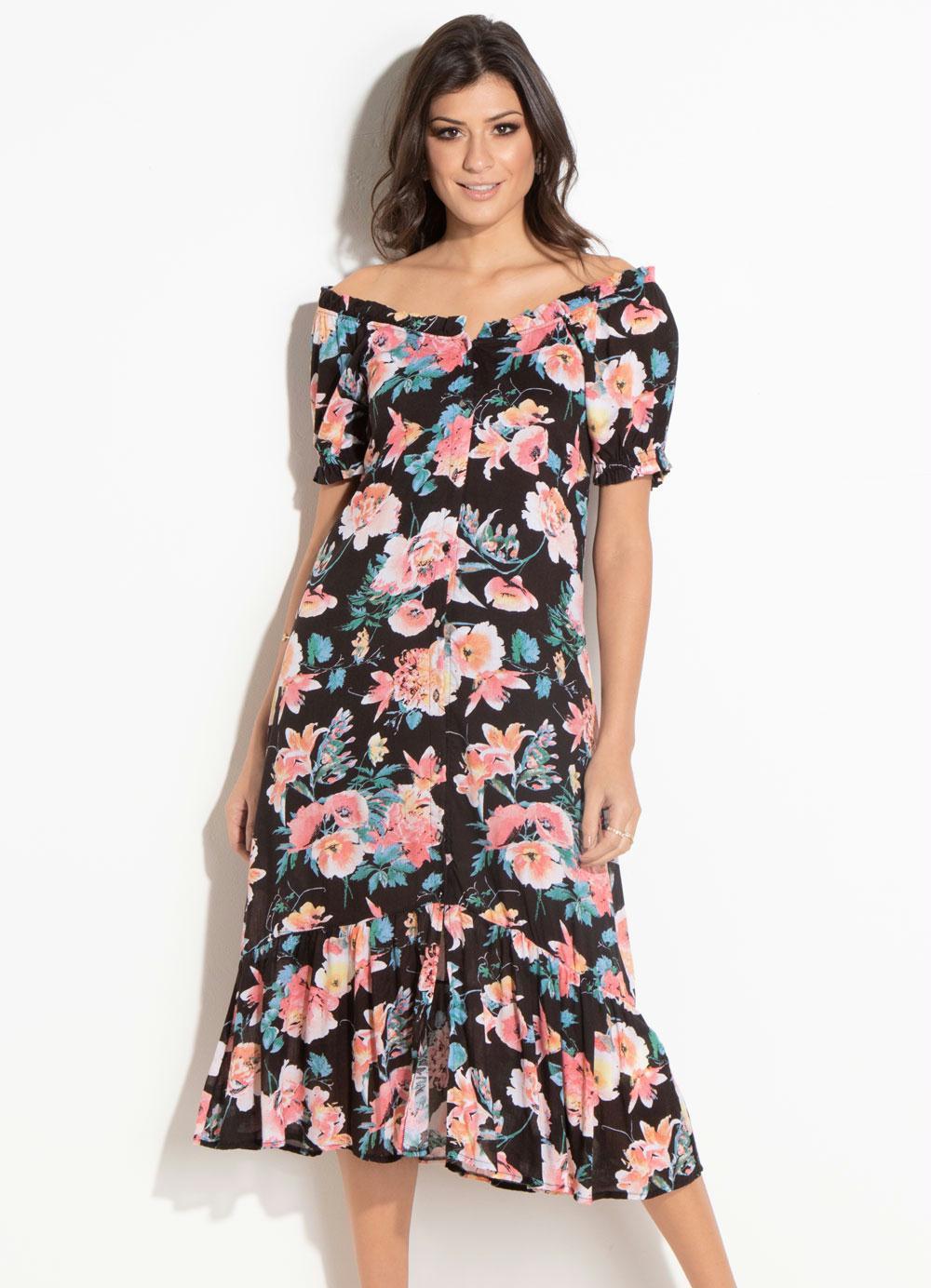 8b0c152075a6 Vestido Midi Quintess (Floral) com Botões Frente