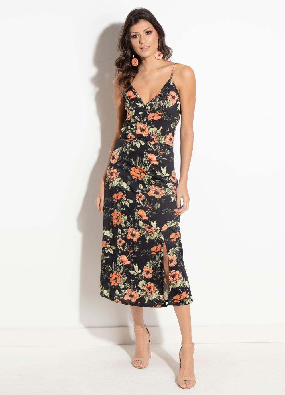 9f1c65c28 Vestido Quintess Floral Preto com Fenda - Quintess