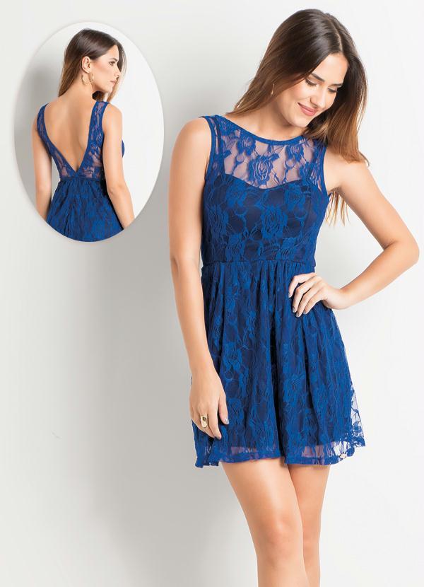 60269013a9 Vestido Renda com Decote nas Costas Azul - Quintess