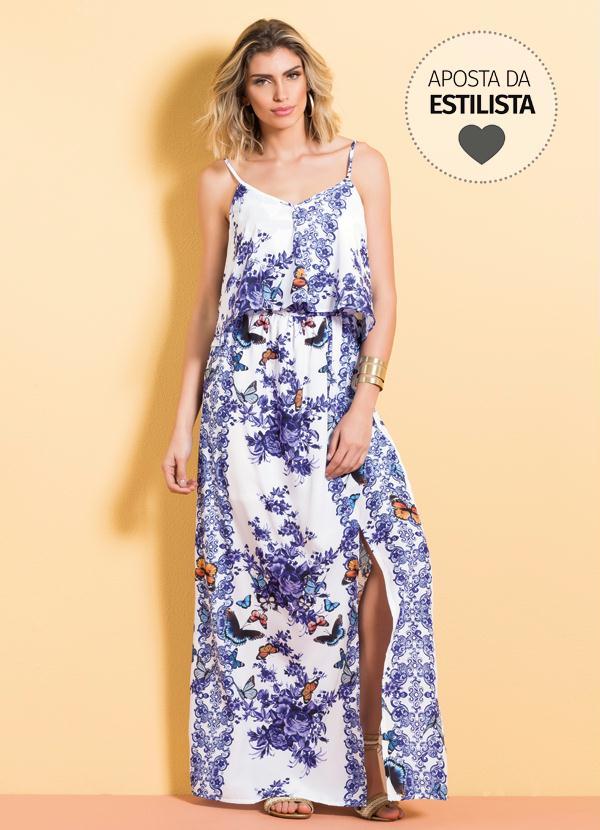 1565eb7dd Vestido Longo Cetim Mix Floral Quintess - Quintess