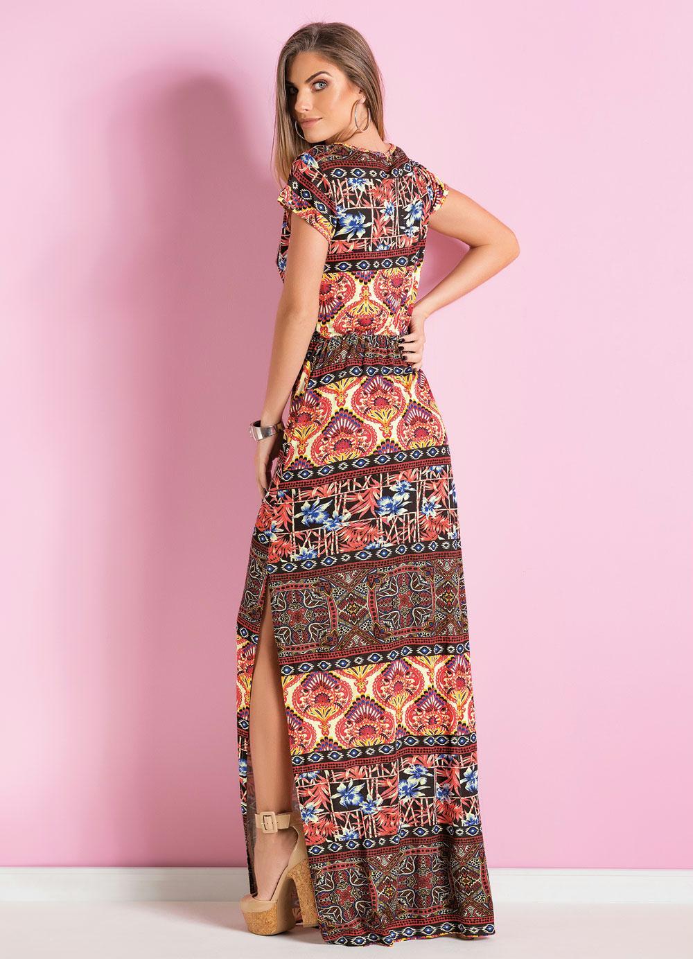 ebd54901a385 Vestido Longo Étnico com Fenda Lateral - Quintess