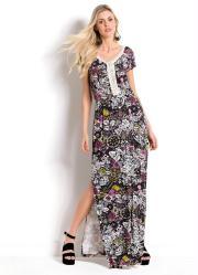 5b0042a5f2 Vestido Longo Floral com Fenda Lateral Quintess