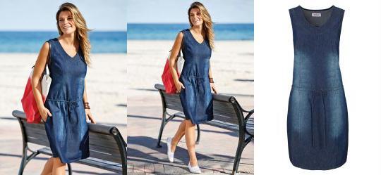 da52d94f1 0.0 Vestido Jeans Azul Escuro com Cordão de Ajuste