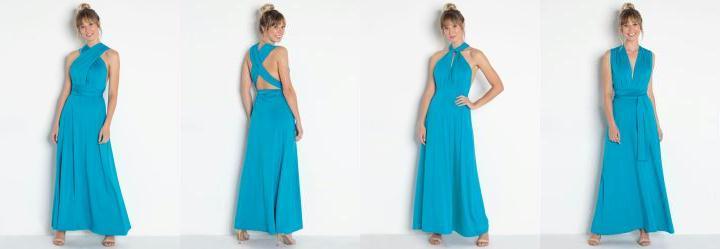 50396c99de 0.0 Vestido Longo com Amarração Azul