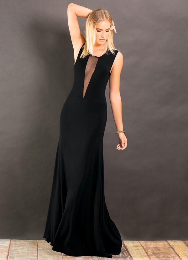 fd5019854a Vestido Longo Decote Profundo Transparente Preto - Quintess