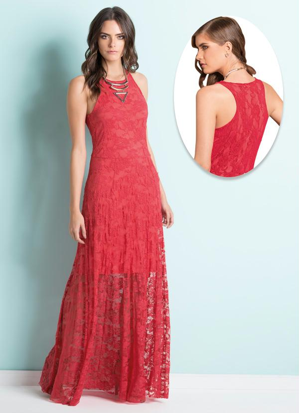 698be18a1 Vestido Longo Renda Coral - Quintess