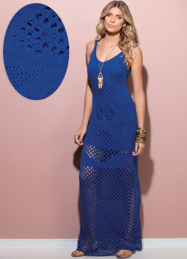 9f55c651a Vestido Longo Tricô Azul - Quintess