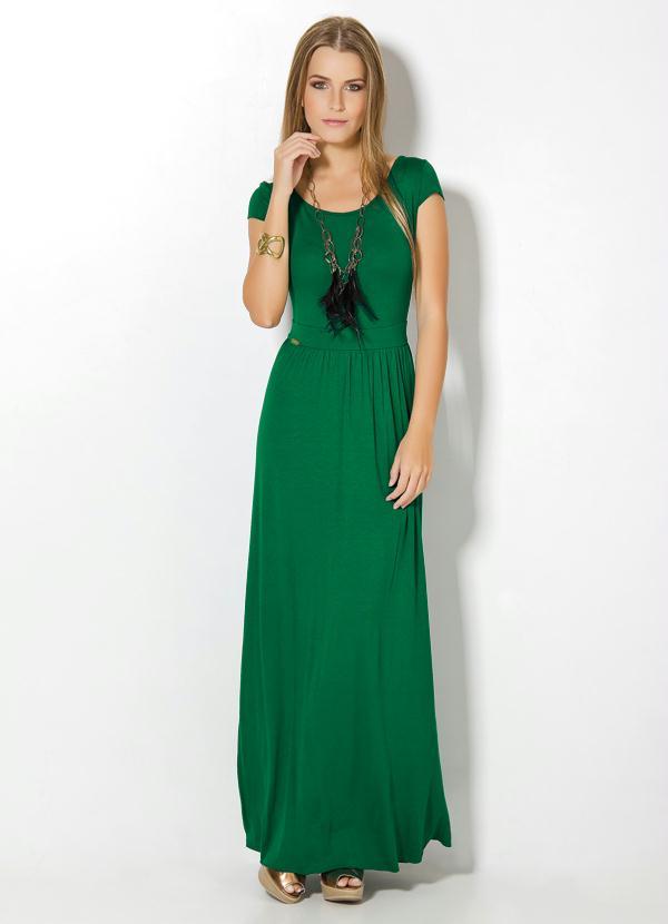 b102fd7309 Vestido Longo Verde com Manguinhas - Quintess