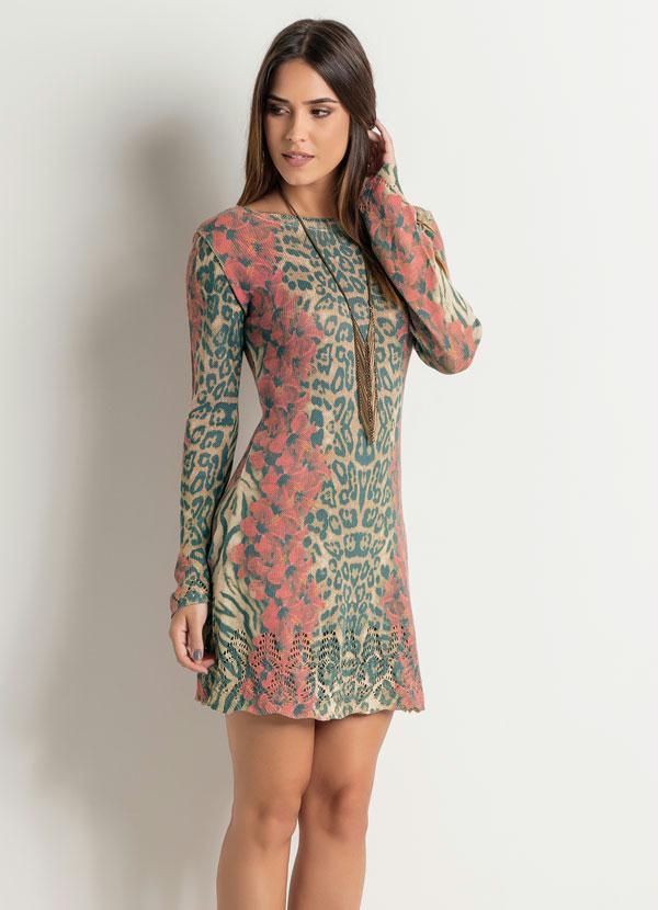 aca37206b Vestido Tubinho Mix Floral e Animal Print - Quintess