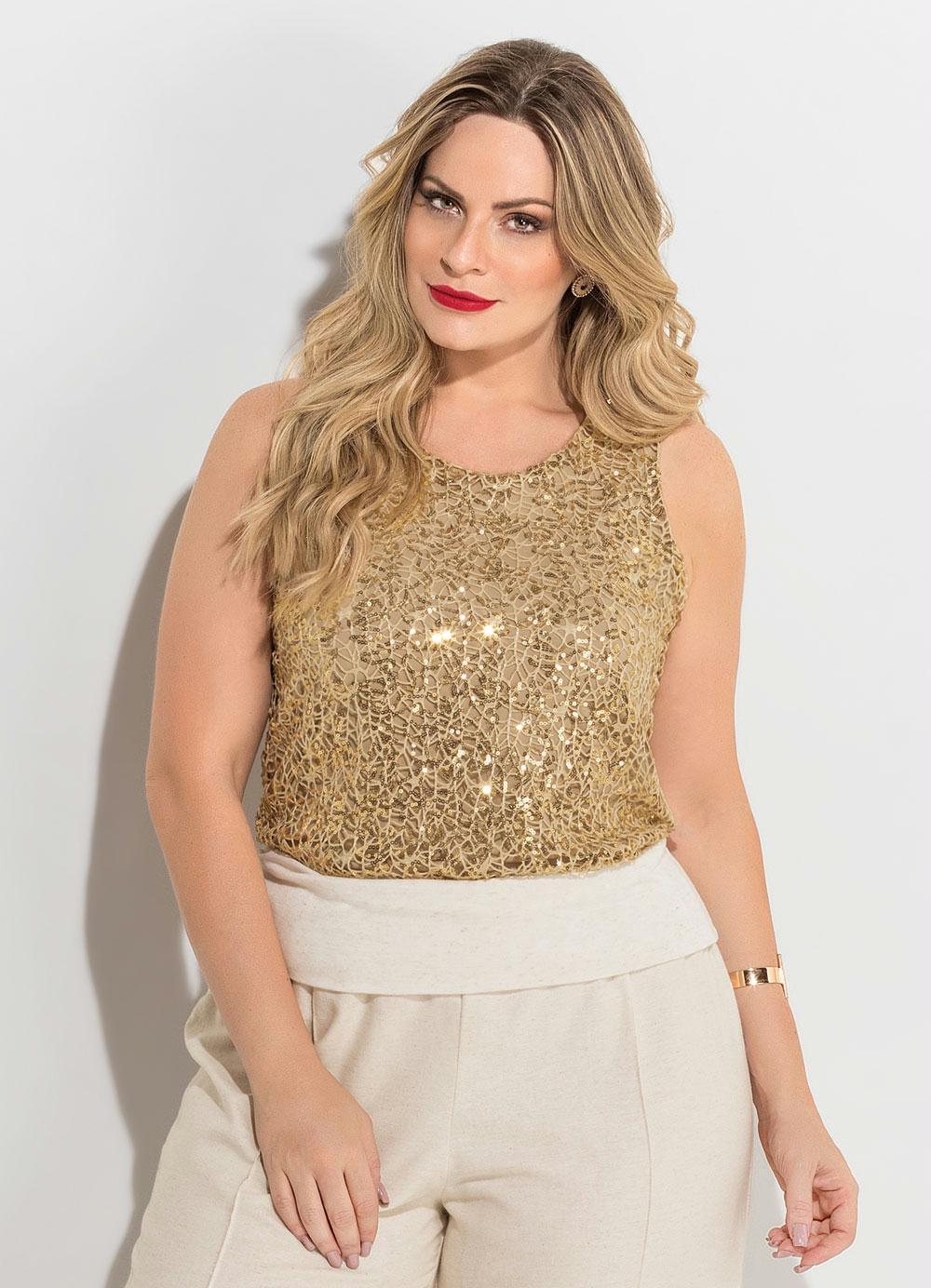 Blusa de Paetês Dourada Plus Size Quintess - Quintess e403a474170d4