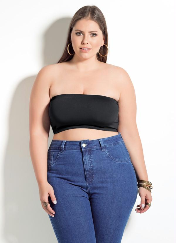 0de48c4a2 Top Tomara que Caia Quintess Preto Plus Size - Quintess