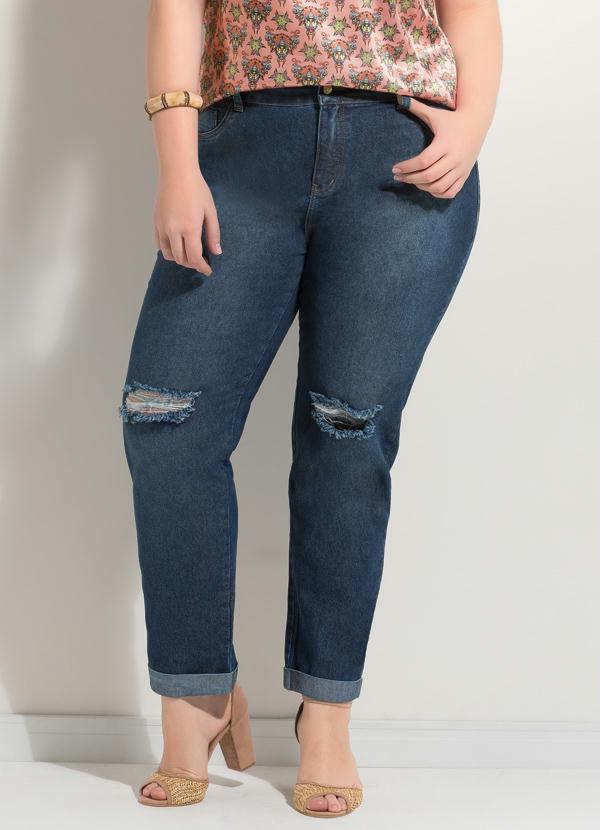 d2bf326ed Calça Destroyed Jeans Azul Plus Size - Quintess
