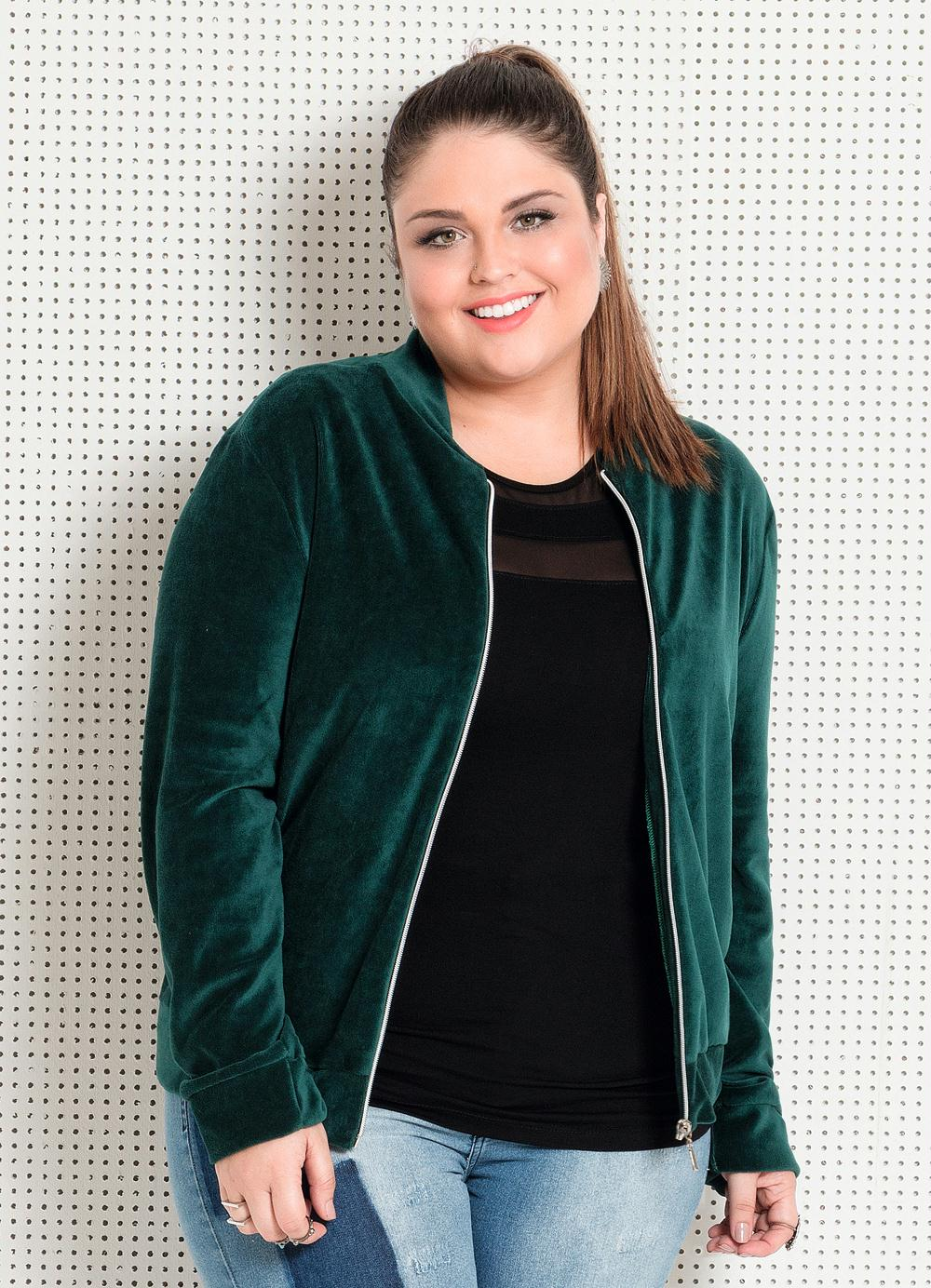 4111bcbe6 JAQUETA EM PLUSH VERDE QUINTESS PLUS SIZE - Quintess