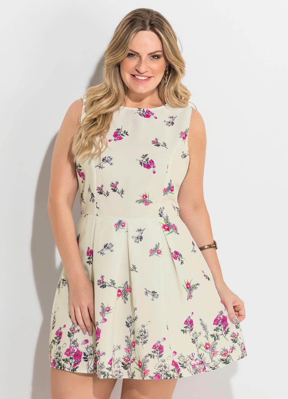 858a606c1 Vestido Acinturado Floral Plus Size Quintess - Quintess