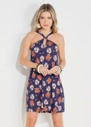 f1897fd84 Vestido Quintess Curto Floral Marinho com Gota